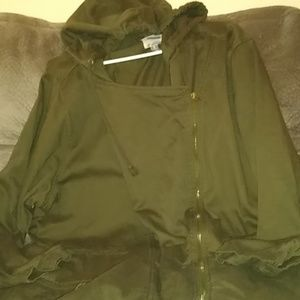 Old Navy Camo Green Long Hooded Jacket